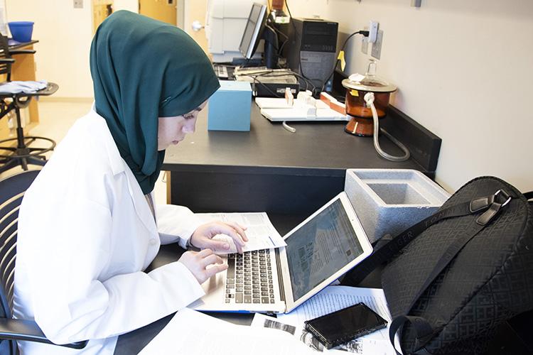 Hi school student Dana Assaf typing at a computer